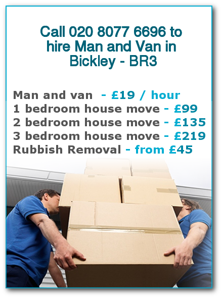 Man & Van Prices for London, Bickley