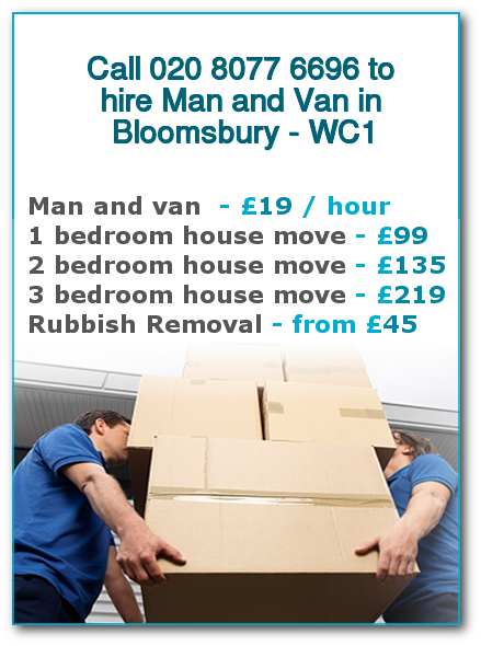 Man & Van Prices for London, Bloomsbury