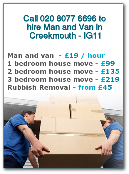 Man & Van Prices for London, Creekmouth