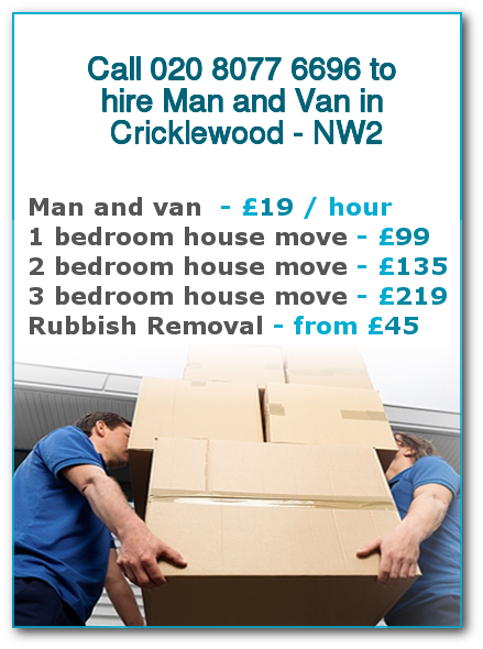 Man & Van Prices for London, Cricklewood