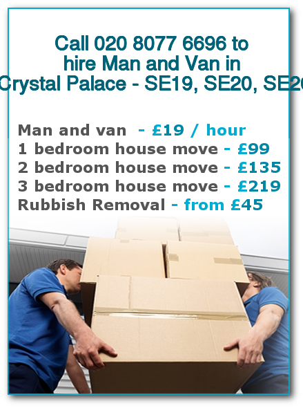 Man & Van Prices for London, Crystal Palace