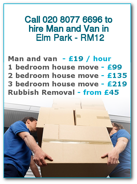 Man & Van Prices for London, Elm Park