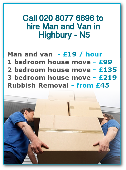 Man & Van Prices for London, Highbury