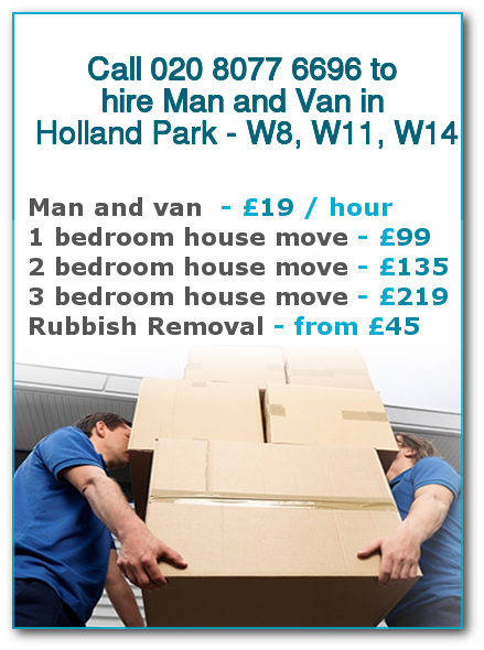 Man & Van Prices for London, Holland Park