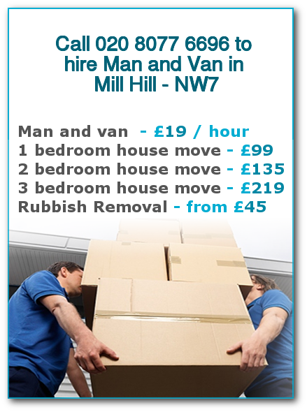 Man & Van Prices for London, Mill Hill