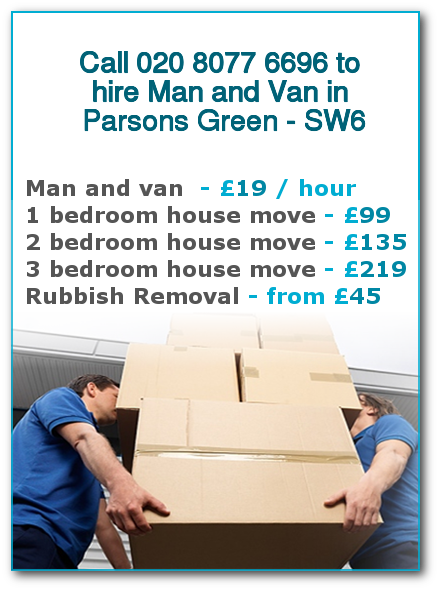 Man & Van Prices for London, Parsons Green