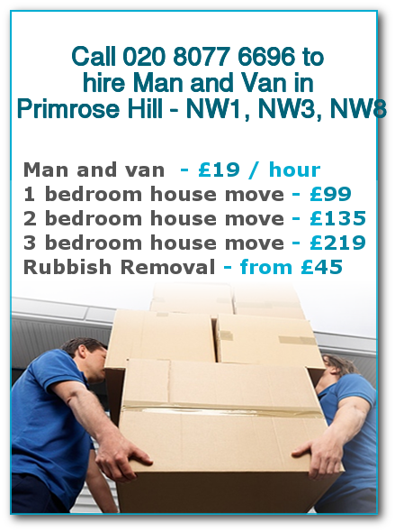 Man & Van Prices for London, Primrose Hill