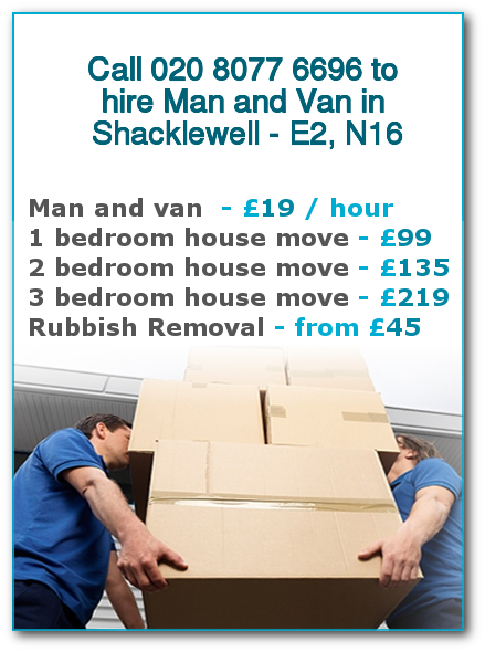 Man & Van Prices for London, Shacklewell