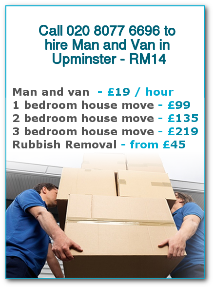 Man & Van Prices for London, Upminster