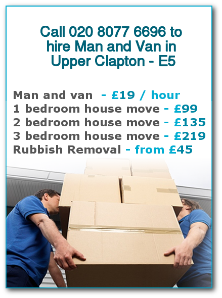 Man & Van Prices for London, Upper Clapton