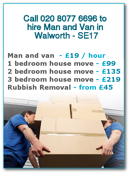 Man & Van Prices for London, Walworth