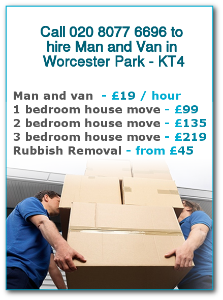 Man & Van Prices for London, Worcester Park